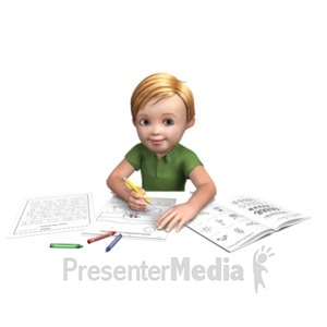 ID# 21027 - Timmy Doing Homework - Presentation Clipart