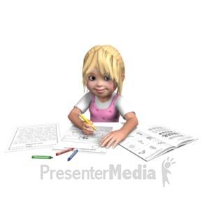 ID# 21028 - Sally Doing Homework - Presentation Clipart