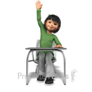 ID# 21031 - Girl Raising Hand At Desk - Presentation Clipart
