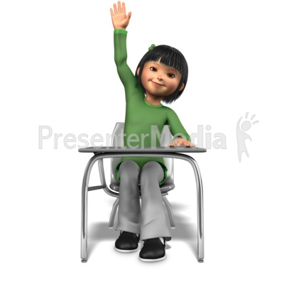 Girl Raising Hand At Desk PowerPoint Clip Art