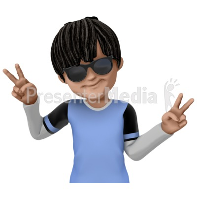 James Cool Peace Sign PowerPoint Clip Art