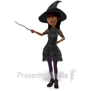 ID# 21056 - Nice Witch Presenting To The Side - Presentation Clipart