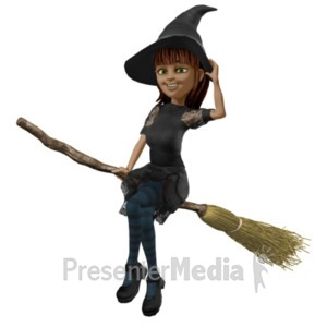 ID# 21057 - Nice Witch Riding Broom - Presentation Clipart