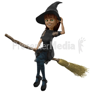 Nice Witch Riding Broom PowerPoint Clip Art