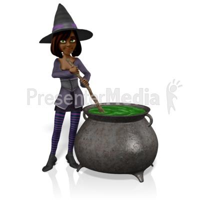 Morgan Witch Stir Cauldron PowerPoint Clip Art