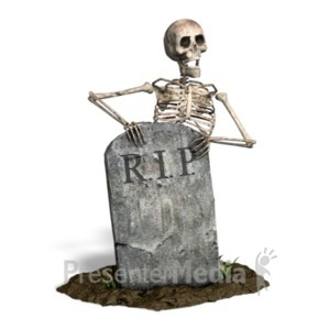ID# 21064 - Skeleton By Tombstone - Presentation Clipart