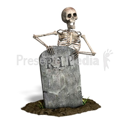 Skeleton By Tombstone PowerPoint Clip Art
