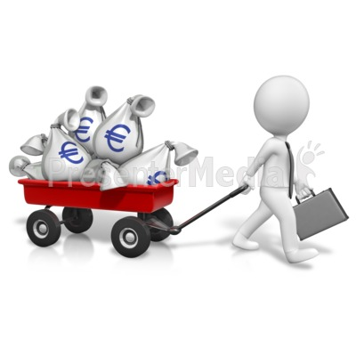 Wagon Full Of Euros PowerPoint Clip Art