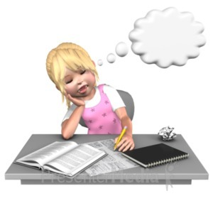 ID# 21078 - Sally Sleeping At Desk - Presentation Clipart