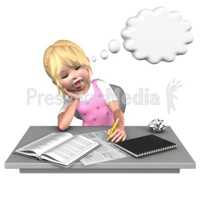 Sally Sleeping At Desk PowerPoint Clip Art