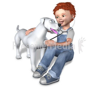 Rodney Checking Dogs Health PowerPoint Clip Art