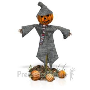 ID# 21090 - Scarecrow Pumpkins - Presentation Clipart