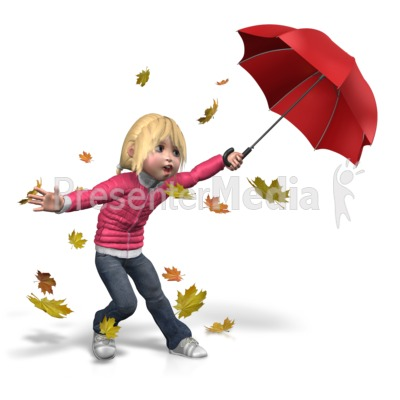 Sally Windy Umbrella PowerPoint Clip Art