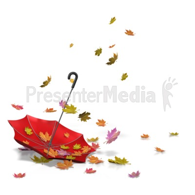 Autumn Leaves Umbrella PowerPoint Clip Art