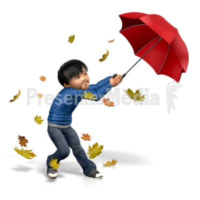 James Windy Umbrella PowerPoint Clip Art