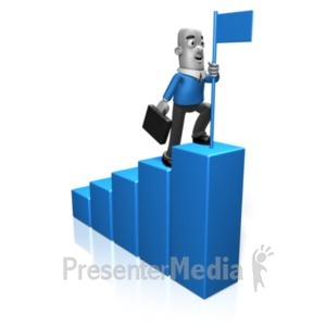 ID# 21143 - Biz Man Bar Graph Flag - Presentation Clipart