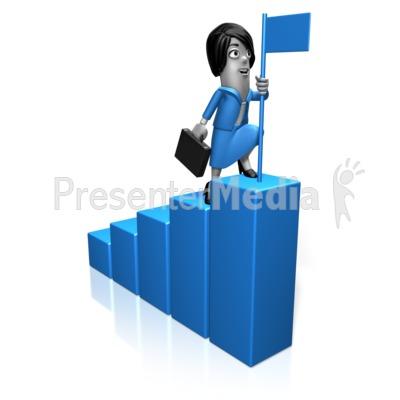 Biz Woman Bar Graph Flag PowerPoint Clip Art
