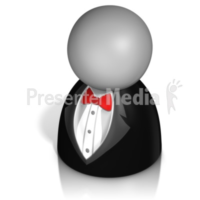 Pawn Figure In Tux PowerPoint Clip Art