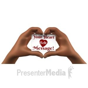 ID# 21281 - Heart Hands Holding Card - Presentation Clipart