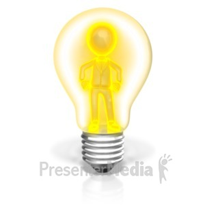 ID# 21304 - Businessman In Light Bulb - Presentation Clipart