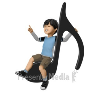 ID# 21315 - James Sitting On Giant Note - Presentation Clipart