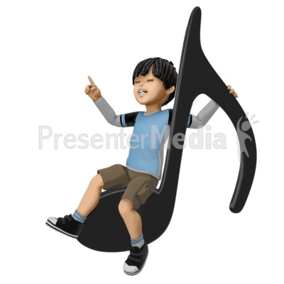 James Sitting On Giant Note PowerPoint Clip Art
