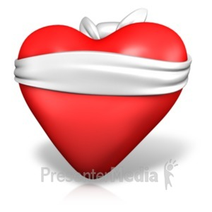 ID# 21318 - Love Is Blind Heart - Presentation Clipart