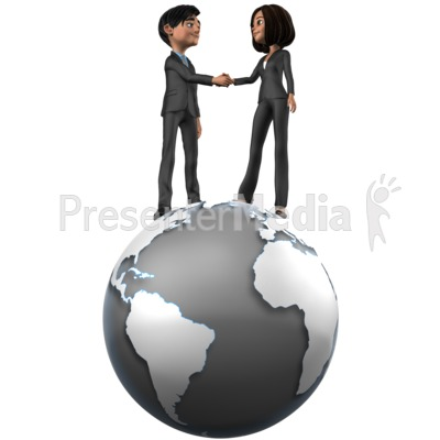 Tailia Brad Shake Hands On Top World PowerPoint Clip Art