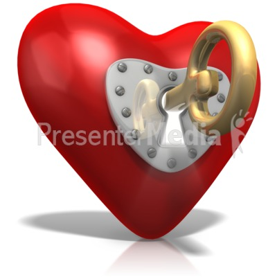 Key To Heart PowerPoint Clip Art