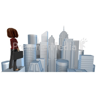 Talia Looking Out Over City PowerPoint Clip Art