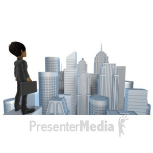 ID# 21388 - Brad Looking Out Over City - Presentation Clipart