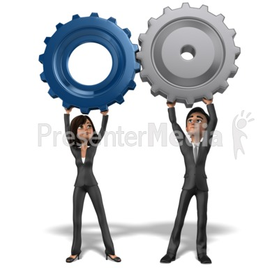 Business Team Holding Gears Together PowerPoint Clip Art