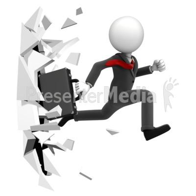 Break Through Figure PowerPoint Clip Art