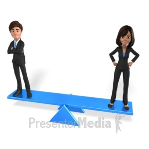 ID# 21424 - Man Woman Equal Balance - Presentation Clipart