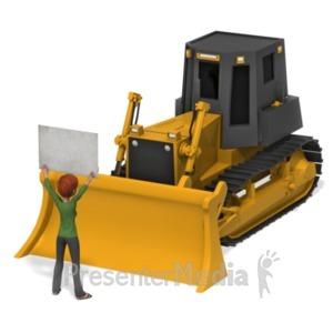 ID# 21486 - Leah Protest Bulldozer - Presentation Clipart