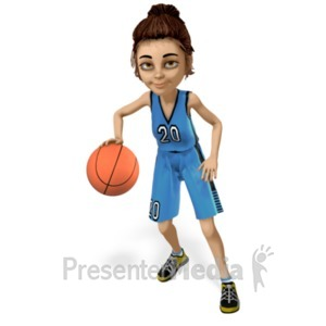ID# 21490 - Lainee Basketball Dribble - Presentation Clipart