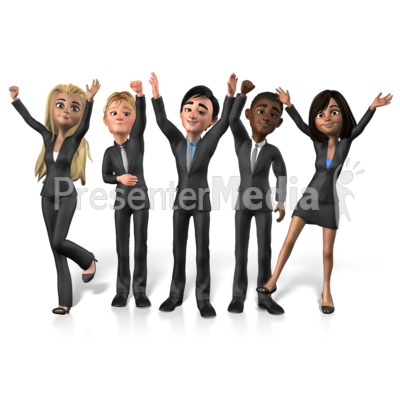 Group Buisness People Cheer PowerPoint Clip Art