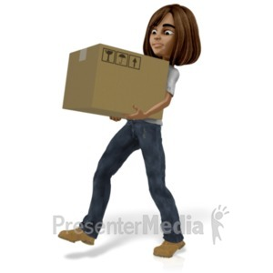 ID# 21546 - Talia Carrying Heavy Box - Presentation Clipart