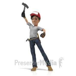 ID# 21566 - Handyman Hero Pose Holding Hammer - Presentation Clipart