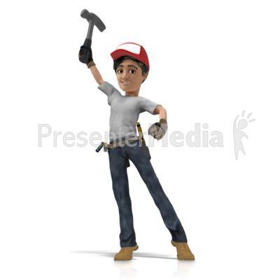 Handyman Hero Pose Holding Hammer PowerPoint Clip Art