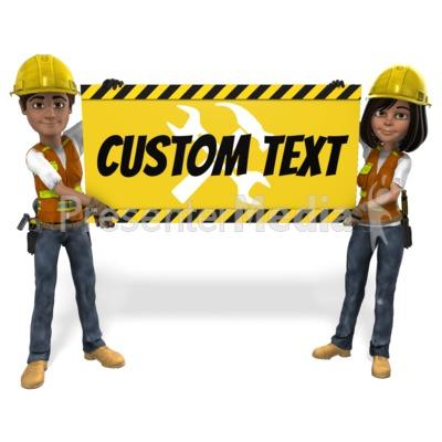 Male Female Construction Sign Custom Presentation clipart
