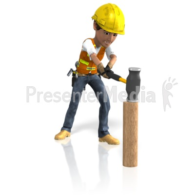 Construction Guy Sledgehammer PowerPoint Clip Art