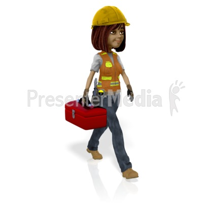 Female Construction Worker Toolbox PowerPoint Clip Art