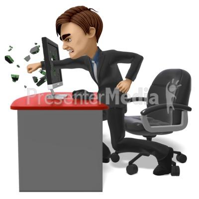 Businessman Punch Screen PowerPoint Clip Art