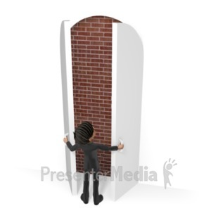 ID# 21602 - Businessman Door Brick Wall - Presentation Clipart