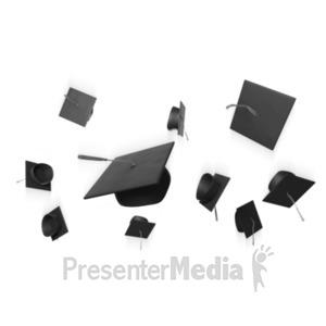 ID# 21604 - Graduation Hat Toss - Presentation Clipart