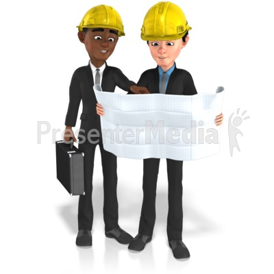 Businessmen Plans Contruct PowerPoint Clip Art