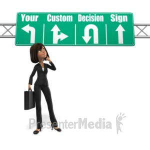 ID# 21611 - Woman Sign Decision - Presentation Clipart