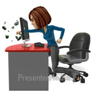 ID# 21612 - Business Woman Punch Screen - Presentation Clipart