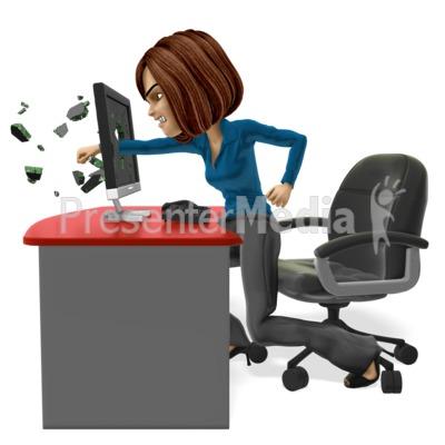 Business Woman Punch Screen PowerPoint Clip Art
